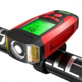 BIKIGHT 3-in-1 350LM COB Bike Light + USB Horn Lamp + Speed Meter LCD Screen 5-Modes Waterproof Bicycle Headlight With Horn